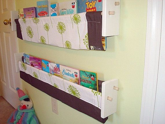 The 25 best book sling ideas on pinterest fabric bookshelf how bought fabric to try to make these for little guys room burlap and denim book slingwall solutioingenieria Choice Image