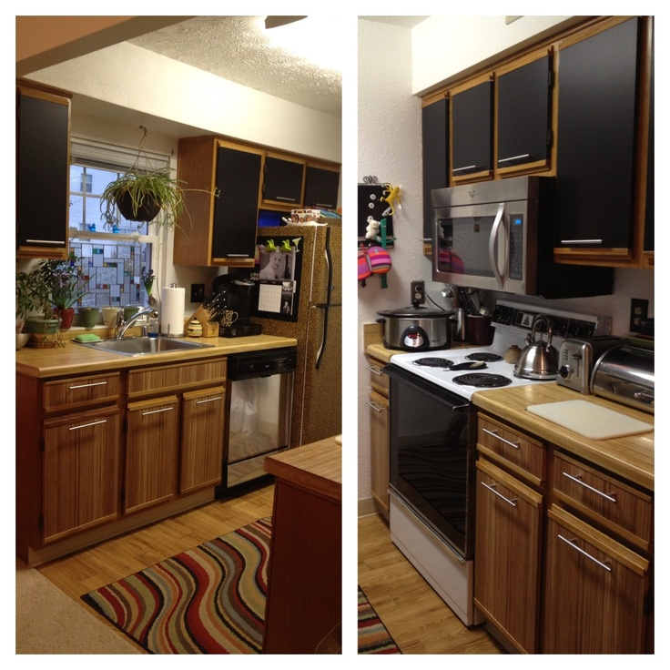 Apartment Kitchen Makeover: Zebrano And Black Contact Paper And New Hardware On Old 80