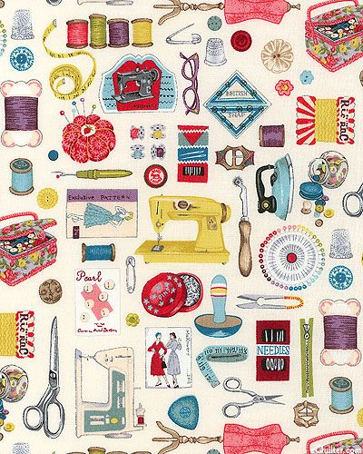 Vintage sewing Notions.  Love the needlepoint tracing wheel and the realistic ghinger scissors!
