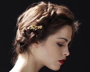 Gold Leaf Barrette by Jennifer Behr :: Hair Accessories :: Barrette :: Leaf :: Leaves :: Vintage :: Metal :: Gold :: Bridal :: Wedding :: Bride