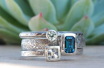 Stackable birthstone rings by olive bungalow - for Mom