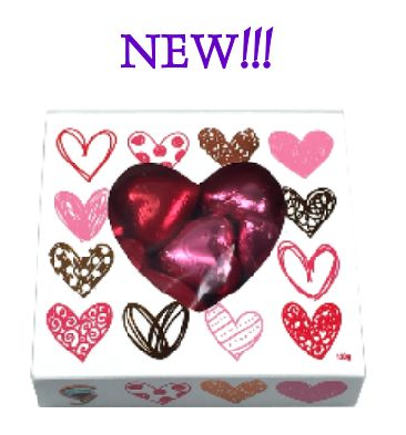 Bomboniere Box filled with Foiled Chocolate Hearts.