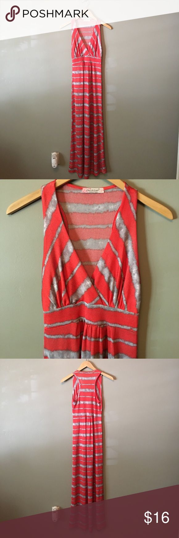 Orange and silver maxi dress Orange and silver maxi dress. Would be great for a hot summer day or as a cover up! V neck in the front and racer back on the back. Chris & Carol Dresses Maxi