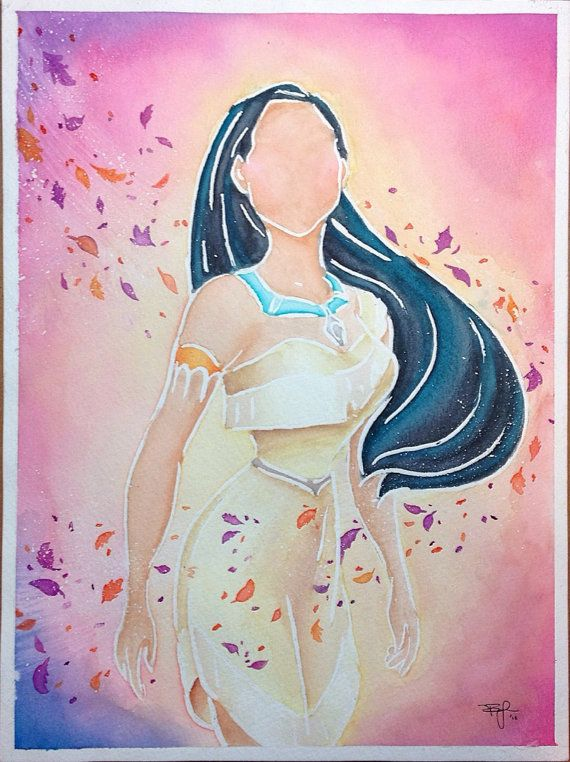 Original - Disney Princess Pocahontas - Colors of the Wind - Watercolor Painting
