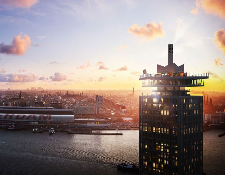 A'dam Toren; the brandnew lookout tower of Amsterdam. With bar, 360' restaurant and view terrace.