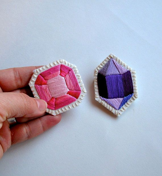 Geometric gem brooch set hand embroidered in by AnAstridEndeavor, Perfect for your love for #valentinesday