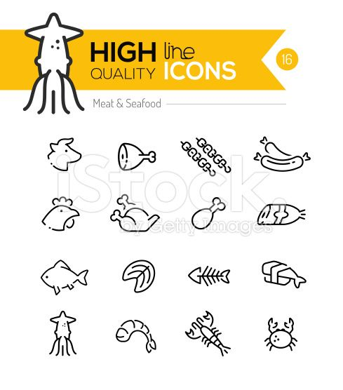 Meat & Seafood Line Icons royalty-free stock vector art