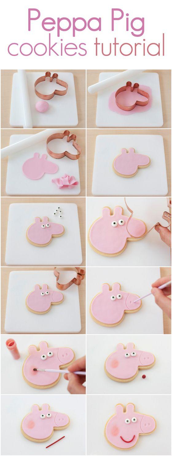 Peppa Pig cookies tutorial. http://www.azucarillosdecolores.com/2014/09/galletas-de-peppa-pig.html                                                                                                                                                                                 Más