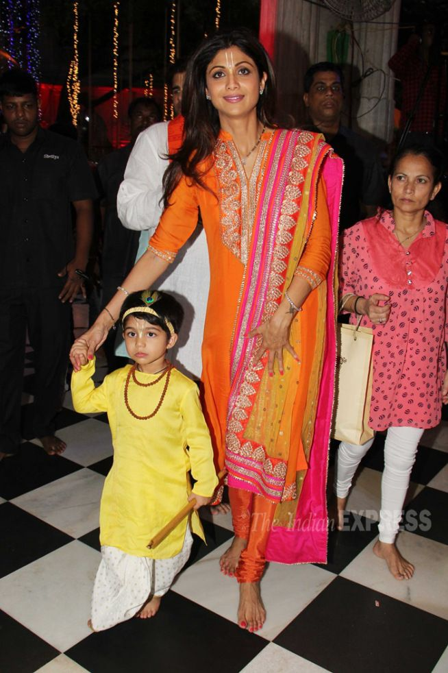 Shilpa Shetty with son Viaan during the Janmashtami celebrations at a temple. #Bollywood #Fashion #Style #Beauty #Desi