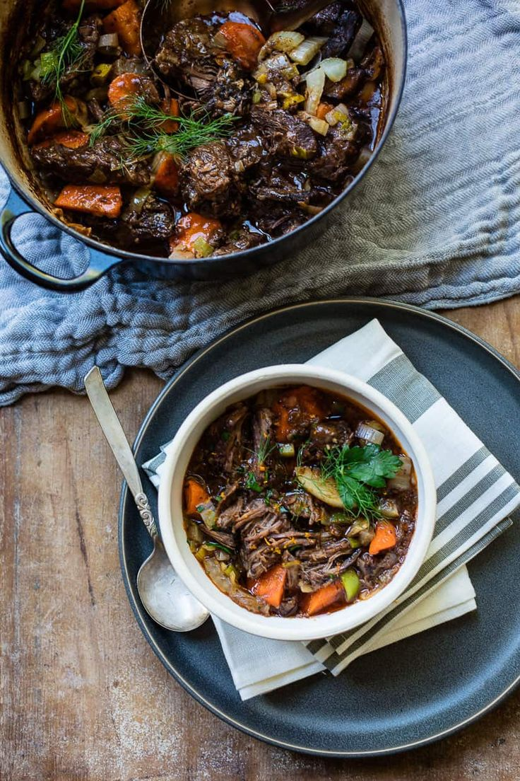 Dutch oven slow-cooked beef stew with red wine and vegetables