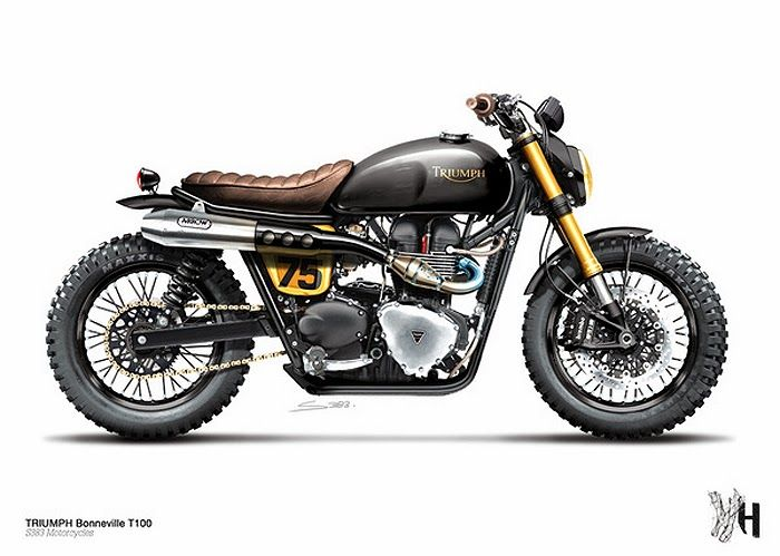 Triumph cafe racer digital illlustration by Holographic Hammer