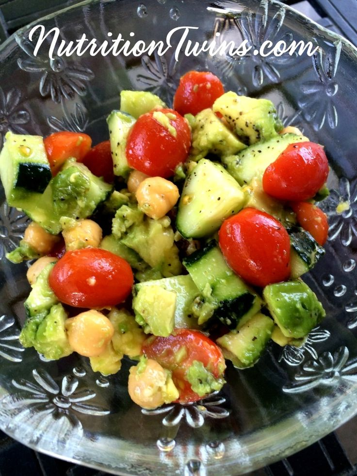 Tomato, Cucumber, Avocado, & Chickpea Salad | Only 120 Calories | Creamy, Sweet & Crunchy| Great way to eat less at meal |For Nutrition & Fitness Tips & MORE RECIPES please SIGN UP for our FREE NEWSLETTER www.NutritionTwins.com