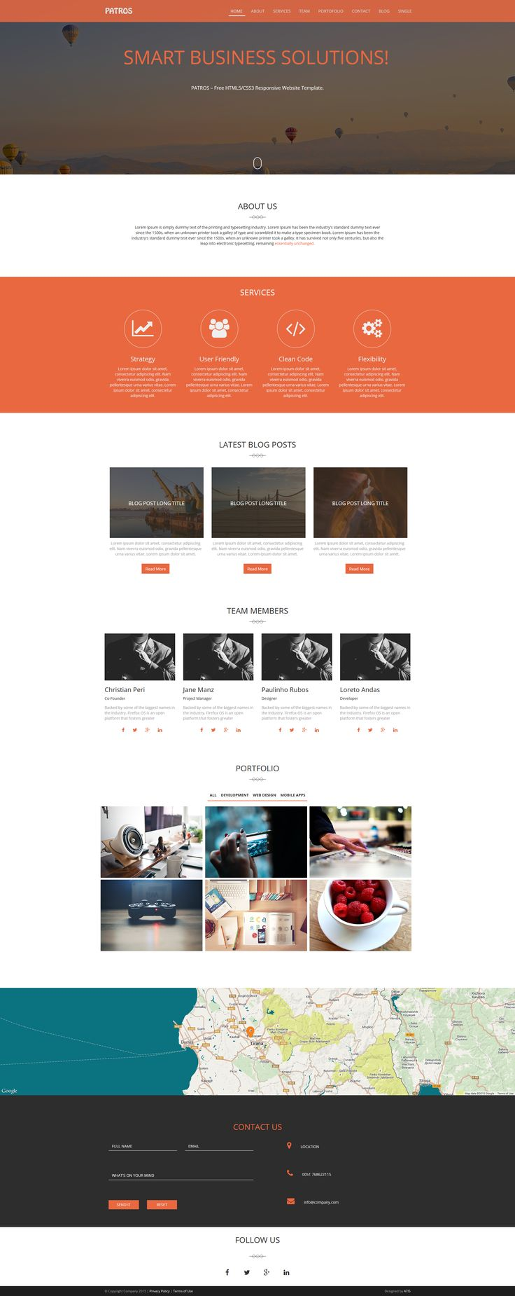 html5 wireframe template - patros free html5 css3 responsive website template