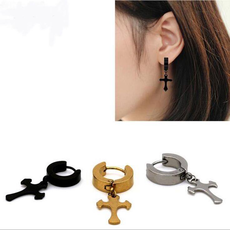 1 pz 3 colori donna uomo titanium acciaio forma di croce pendente del metallo della vite prigioniera dell'orecchio orecchino semplice maschio orecchio gioielli