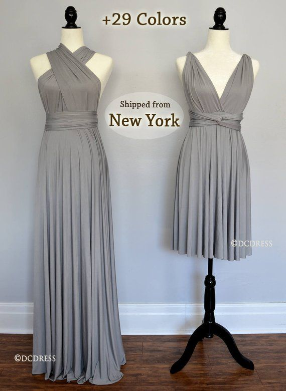 8794d88b6ad0 Bridesmaid dress Silver Gray, Light Grey Long Ball gown infinity dress, convertible  dress, Wrap Dress, prom dress, dress party | Infinity Dress Styles ...