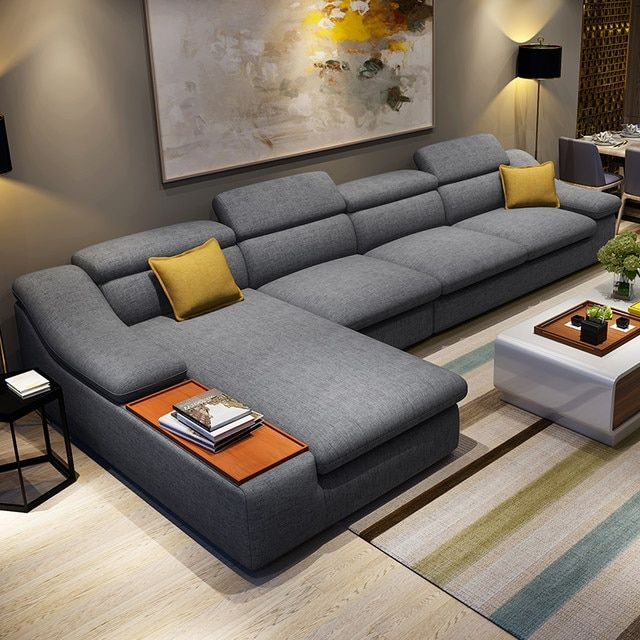 L Shaped Fabric Corner Sectional Sofa