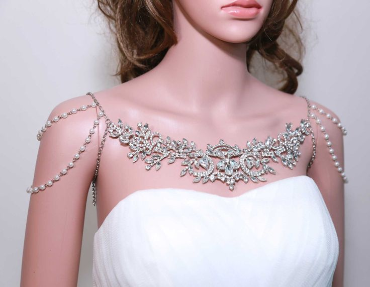 Pearl Lariat, Epaulettes Necklace, Bridal necklace, Shoulder Necklace, Rhinestone Necklace, Draping Necklace, Wedding Necklace by BlingGarden on Etsy https://www.etsy.com/listing/206953158/pearl-lariat-epaulettes-necklace-bridal