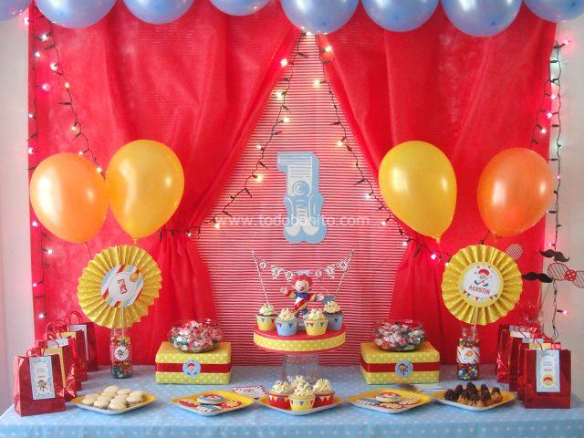 Mesa dulce de circo circo pinterest circus party and - Decoracion para cumpleanos de 1 ano de varon ...
