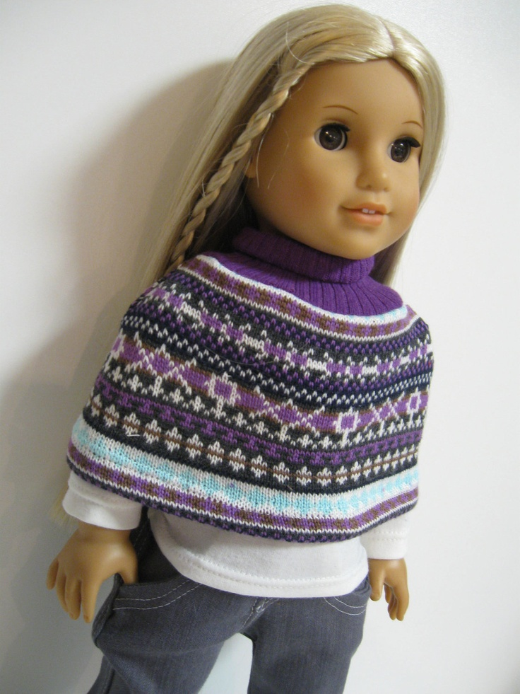 Knitting Pattern For Dolls Poncho : 38 best images about american girl doll knitting ponchos ...