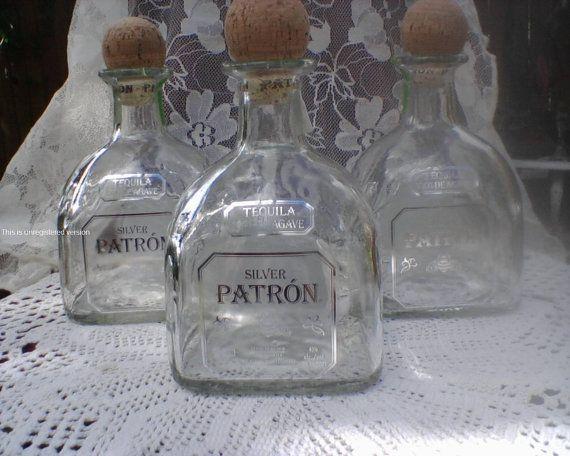 Three 3 Recycled Empty Patron Tequila 750ml Glass by NiceGlass4u2, $19.99