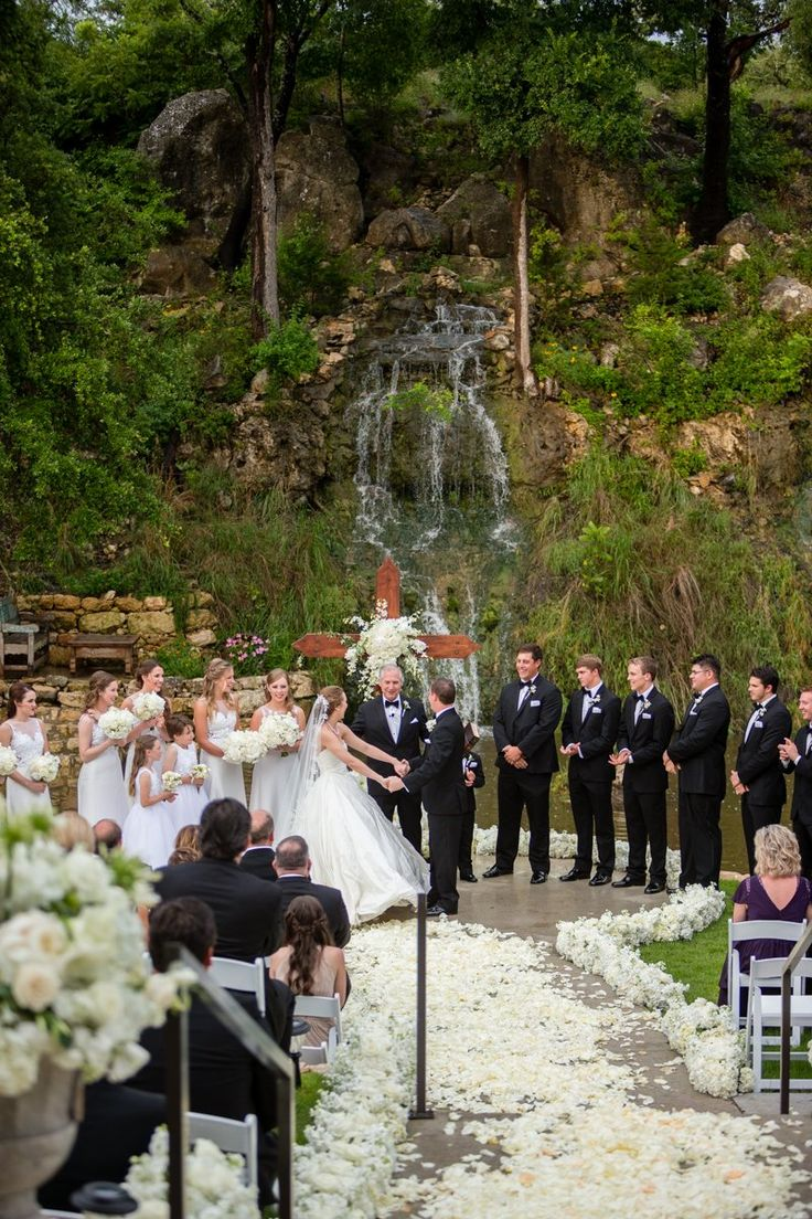 outdoor wedding venues dfw texas%0A Waterfall Wedding Ceremony  Hill Country Wedding  The Lodge at Bridal  Veil Falls  Spring Branch  TX