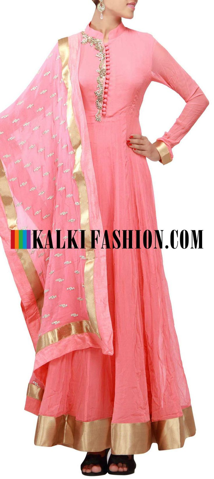 Buy Online from the link below. We ship worldwide (Free Shipping over US$100) http://www.kalkifashion.com/catalog/product/view/id/9641/s/peach-anarkali-suit-featuring-with-embellished-placket-in-pearl-and-zardosi-only-on-kalki/  peach anarkali suit featuring with embellished placket in pearl and zardosi only on Kalki