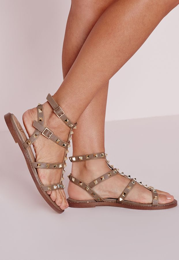 Studded Flat Gladiator Sandals Taupe