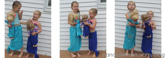 "Sew Matching Mermaid Costumes for girls and 18"" dolls 