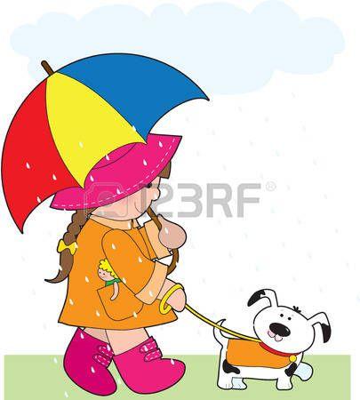 bambina con cane: Una bambina portava a passeggio il cane sotto la pioggia e con un ombrello Vettoriali