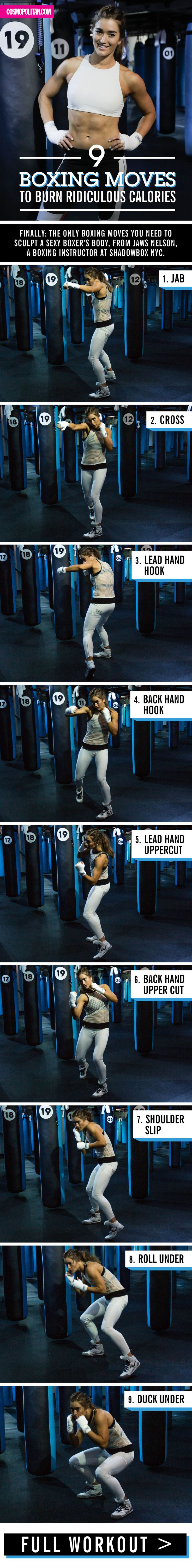 9 BOXING MOVES: The moves in this workout routine, created by Jaws Nelson from Shadowbox NYC, burn a crazy amount of calories! Click through for the full workout, an instructional video, and fun gifs that will teach you all the moves you need to know!