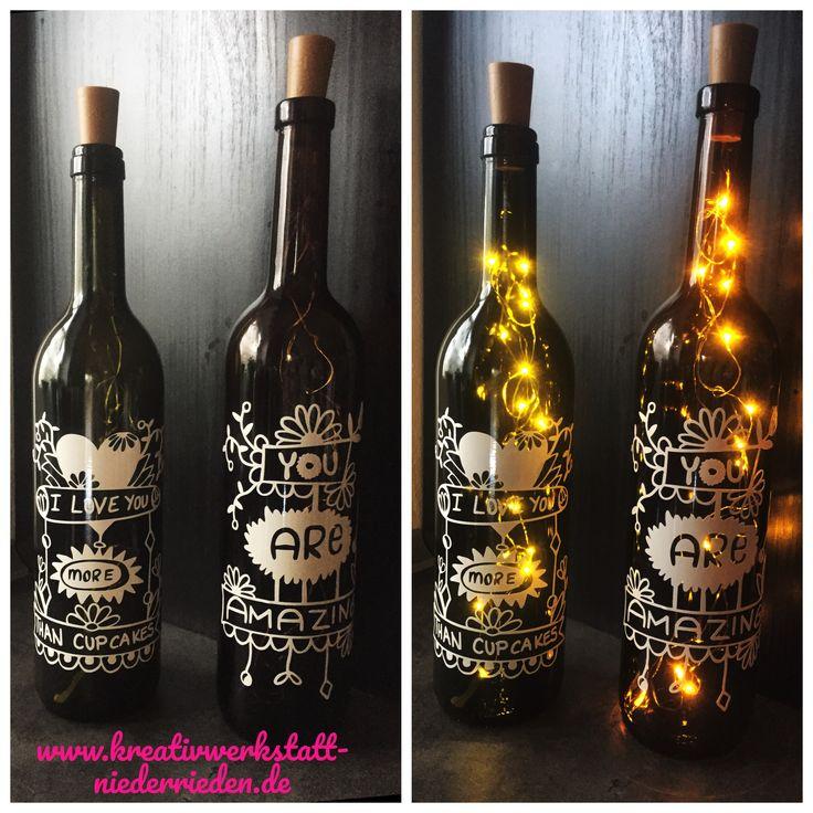 Mit meiner Cameo3 gezaubert! Design selber gezeichnet ☺️ mit und ohne Licht herrlich anzusehen  #Flasche #upcycling #silhouette #cameo3