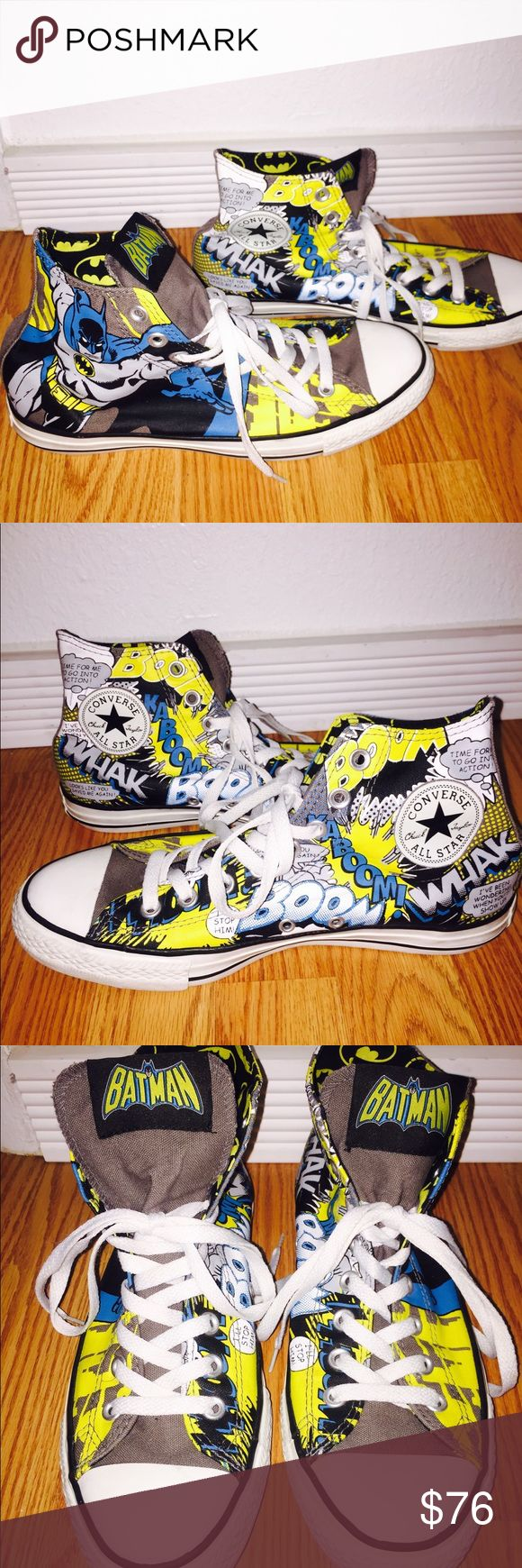 Batman Converse, high to low style like new! Batman Converse, high to low style, I love that when you flip them low, you get the whole Batman logo print. It's like having 2 shoes in 1 hahah, that's the reason I bought these❤️❤️, sadly I ordered a 10 thinking it would be a good idea and I tried wearing them once for an hour and they are just too big  😪. Pretty much new and perfect for any comic book or converse fan. Converse Shoes Sneakers