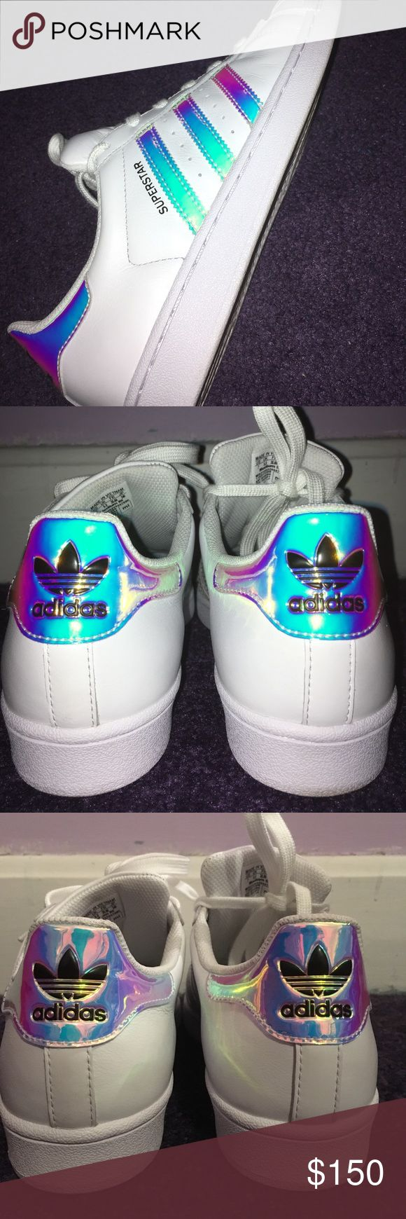 Holographic Adidas Superstars These are white Adidas Superstars with holographic detail on the stripes and back- size 7. I ordered them online but the size is slightly too big for me. They have only been worn once. They are super cute and fun. adidas Shoes Sneakers