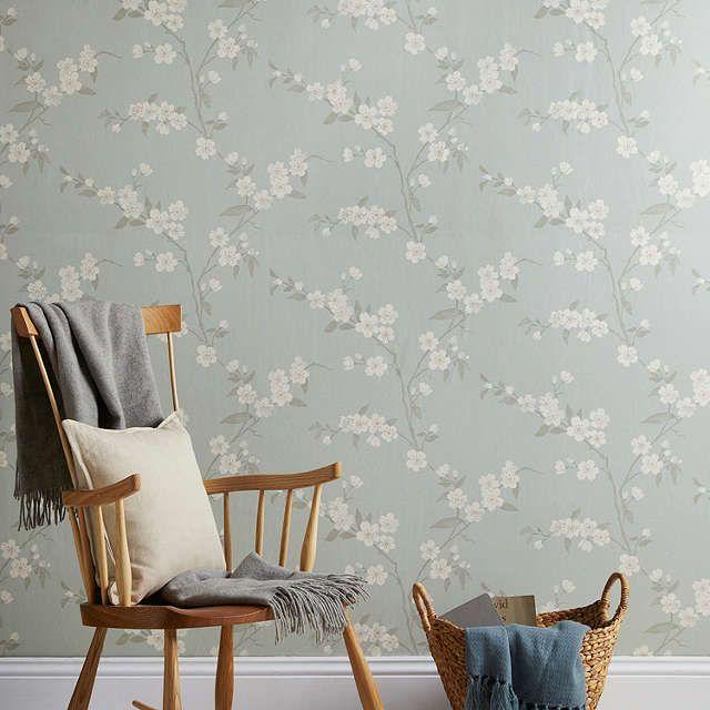 John lewis cherry blossom wallpaper eau de nil cherry for Eau de nil bedroom ideas