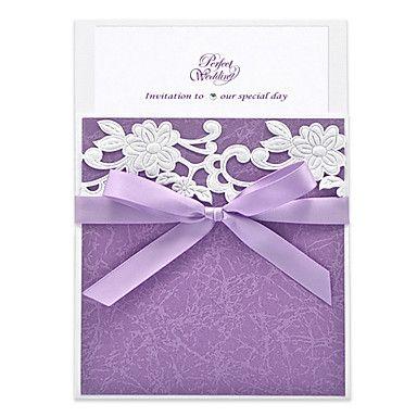 Lanvender Floreale Invito a nozze con il bowknot del nastro (set di 30) – EUR € 164.99