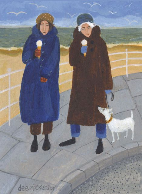 'Never Too Cold For Ice Cream' By Dee Nickerson. Blank Art Cards By Green Pebble.