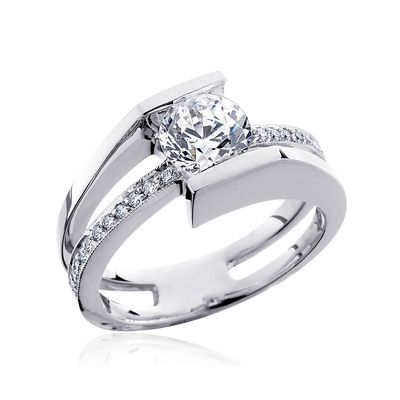 Check out the deal on Tension Set diamond and moissanite engagement ring at MoissaniteBridal.com