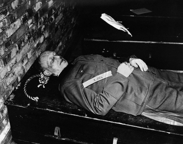 The body of Alfred Jodl after being hanged, Nuremberg, Germany, 16 Oct 1946; Source: United States Army