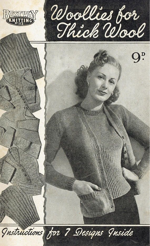 PDF Vintage 1940s Womens Ladies Knitting Pattern Booklet Mens