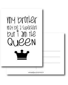 Superhero vs Queen A6 #quefem #quefemwebshop #winkeltjevananne #design #illustratie #babysitter #babysitplanner #planner #stationary #postcard #kaart #kaartjes #handlettering #interior #interiordesign #queen #superhero