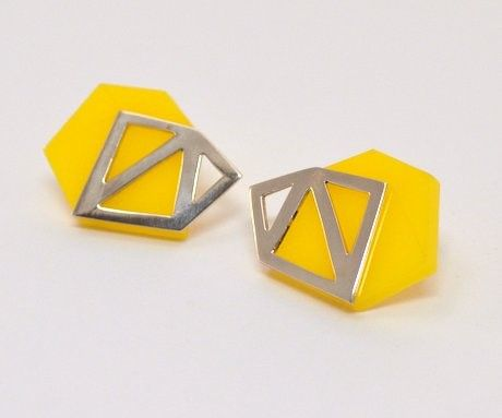 Yellow Perspex Stud Earrings with Silver by Anaïs Paulard