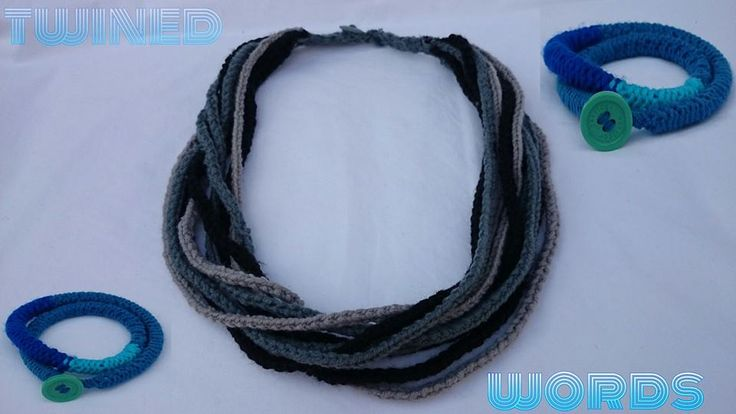 knitted necklace and bracelet 100% coffee cotton