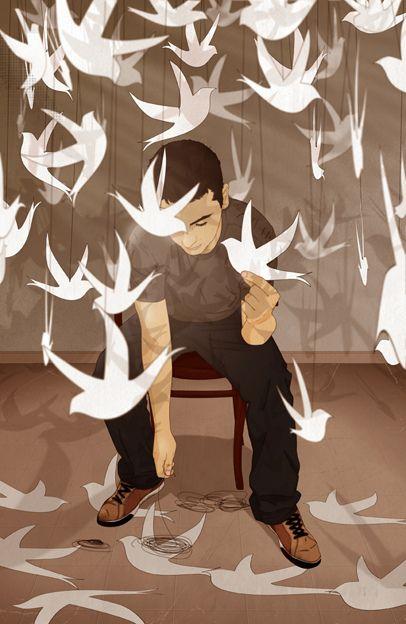 """paper birds"" by d caballero, via Flickr: Art Daniel, Illustrations Art, Daniel Caballero, 2D Art, By Daniel, Paperbird, Gentle Artworks, Paper Birds, Digital Artists"