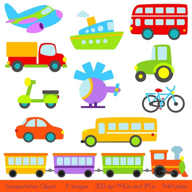 Transportation Clip Art Clipart with Car, Truck, Train, Helicopter ...