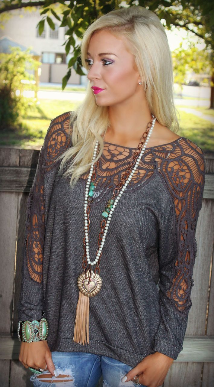 Charcoal Bless Your Heart Top - The Lace Cactus