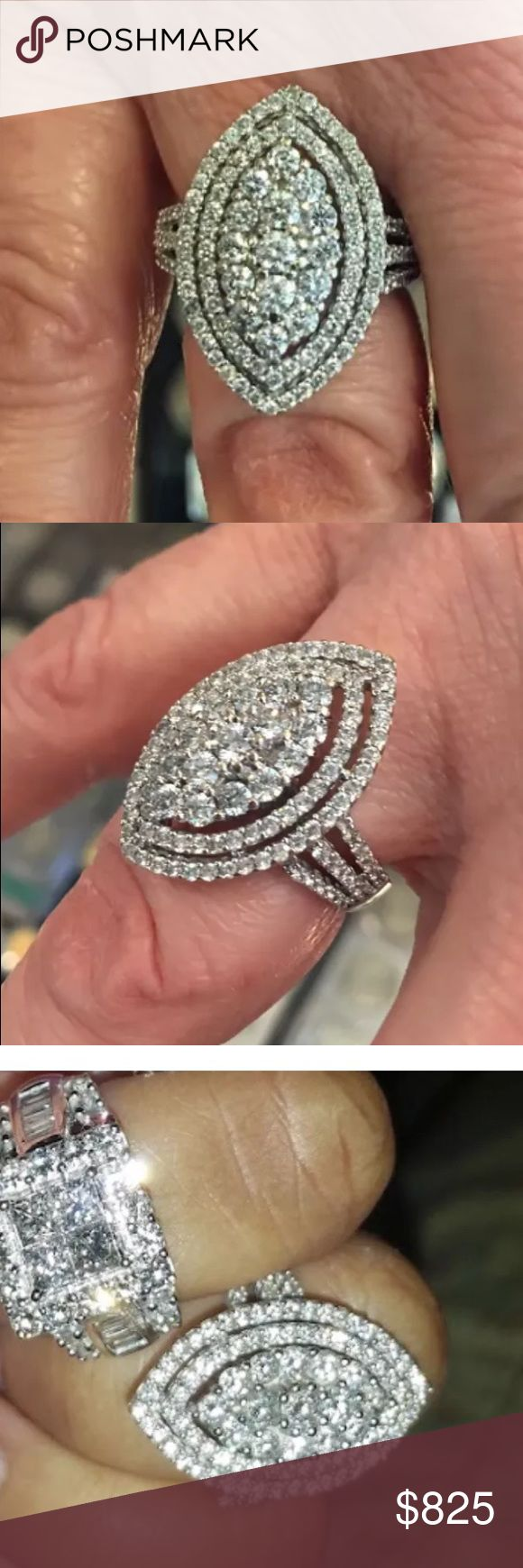 2 carat 10k white gold diamond pear shape ring 2 carat 10k white gold diamond pear shape ring! Tons of sparkle!!!! This is a steal!!! Jewelry Rings