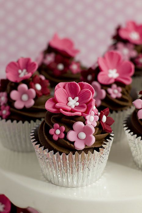 Pink Flower Chocolate Cupcakes.
