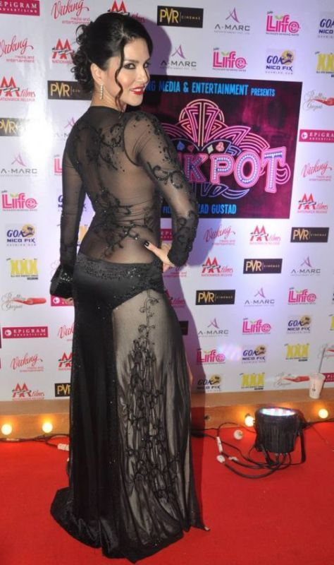 Hot Sunny In a Transparent Black Dress at Jackpot Movie Premiere