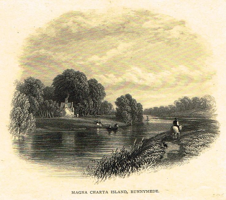 """Miniature Antique Topography Print - """"""""MAGNA CHARTA ISLAND, RUNNYMEDE"""""""" - Steel Engraving - c1840"""