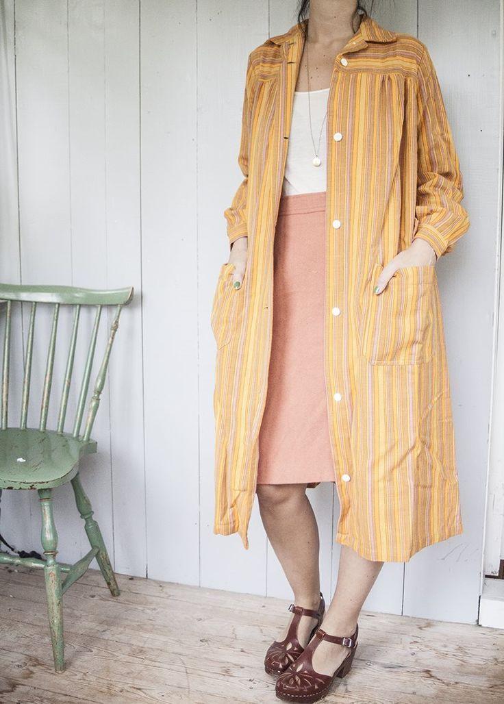 Vintage Gul Orange Kappa / Klänning med fickor 70 tal. på Tradera.com -